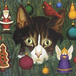 Пазл онлайн: Рождественский кот