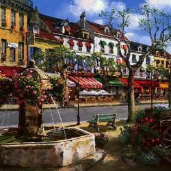 Пазл онлайн: Городской фонтан
