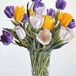 Пазл онлайн: Букет тюльпанов