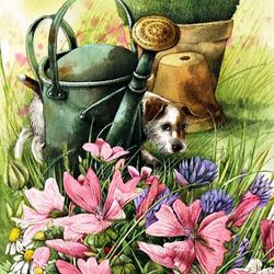 Пазл онлайн: Прятки в саду