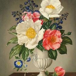 Пазл онлайн: Цветы в белой вазе