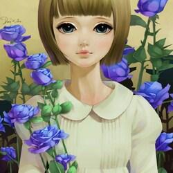 Пазл онлайн: Девочка и голубые розы