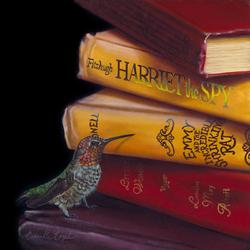 Пазл онлайн: Колибри и книги