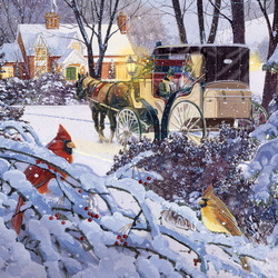 Пазл онлайн: Зимние гости