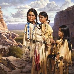 Пазл онлайн: Мать с детьми