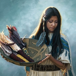 Пазл онлайн: Девушка с кукурузой