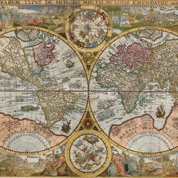 Пазл онлайн: Карта мира 1594 года