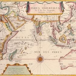 Пазл онлайн: Карта Индийского океана 1677 года