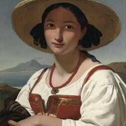 Пазл онлайн: Портрет девушки в соломенной шляпке