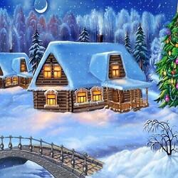 Пазл онлайн: Новогодняя ёлка у дома