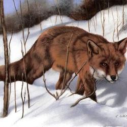 Пазл онлайн: Лиса в снегу