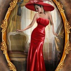 Пазл онлайн: Портрет леди в красном
