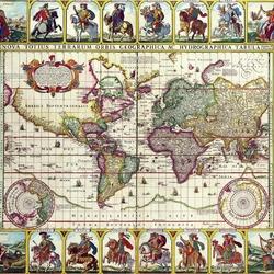 Пазл онлайн: Старинная карта мира