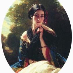 Пазл онлайн: Портрет Леониллы Барятинской, княгини Сайн-Витгенштейн