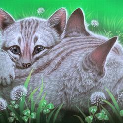 Пазл онлайн: Котенок с мамой