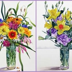 Пазл онлайн: Пестрые цветочные букеты