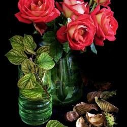 Пазл онлайн: Осенние розы