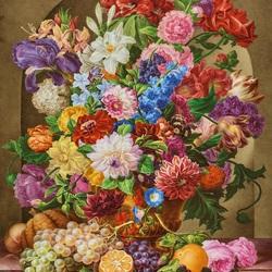 Пазл онлайн: Букет цветов в нише