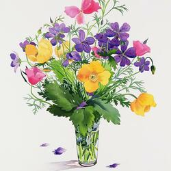 Пазл онлайн: Букет полевых цветов