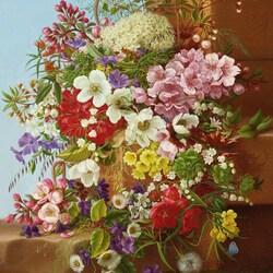 Пазл онлайн: Натюрморт с цветами на каменном выступе
