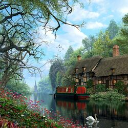 Пазл онлайн: Старый лесной канал