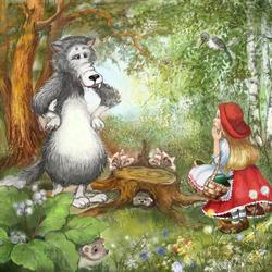 Пазл онлайн: Встреча с серым волком