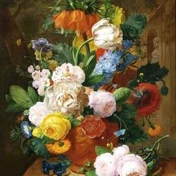 Пазл онлайн: Розы и тюльпаны в терракотовой вазе
