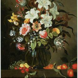 Пазл онлайн: Букет с белыми лилиями