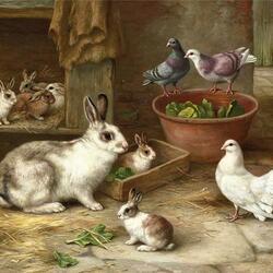 Пазл онлайн: Кролики и голуби