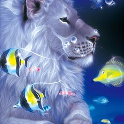 Пазл онлайн: Мечтающий лев
