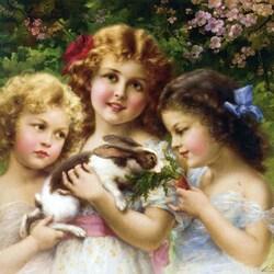 Пазл онлайн: Девочки с кроликом