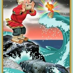 Пазл онлайн: И снова стал кликать дед золотую рыбку...