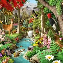 Пазл онлайн: Лесной водопадик