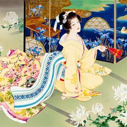 Пазл онлайн: Белые хризантемы