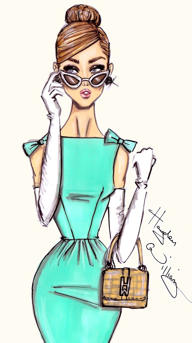 Нарисованная модная девушка