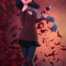 Пазл онлайн: Девушка с вином