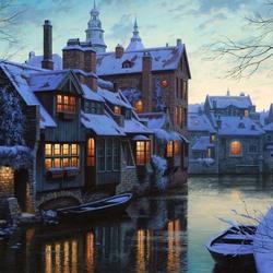 Пазл онлайн: Зима в Брюгге