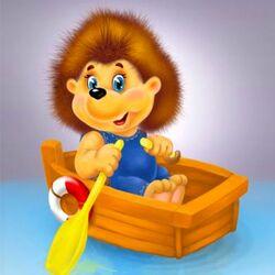 Пазл онлайн: Ёжик в лодке