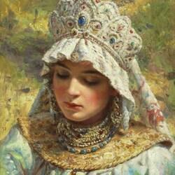 Пазл онлайн: Русская красавица в кокошнике