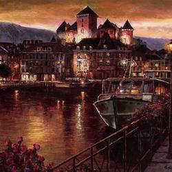 Пазл онлайн: Ночной Анси, Франция