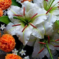 Пазл онлайн: Цветы из флористической глины