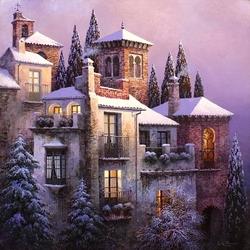 Пазл онлайн: Снежные крыши