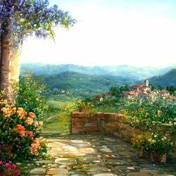 Пазл онлайн: Холмы Тосканы