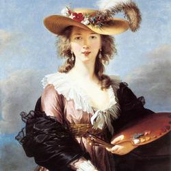 Пазл онлайн: Автопортрет в соломенной шляпке