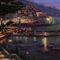 Пазл онлайн: Ночной город Амальфи, Италия