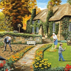 Пазл онлайн: Работа в саду
