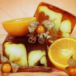 Пазл онлайн: Апельсины с корицей