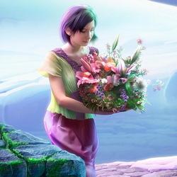Пазл онлайн: Девушка с цветами