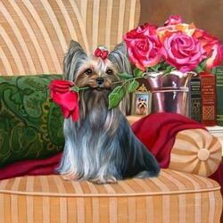 Пазл онлайн: Rosy Portrait / Портрет с Розой
