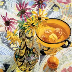 Пазл онлайн: Натюрморт с желтой чашей и абрикосами